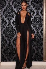 Черный Индивидуальный вырез длинными рукавами платья макси