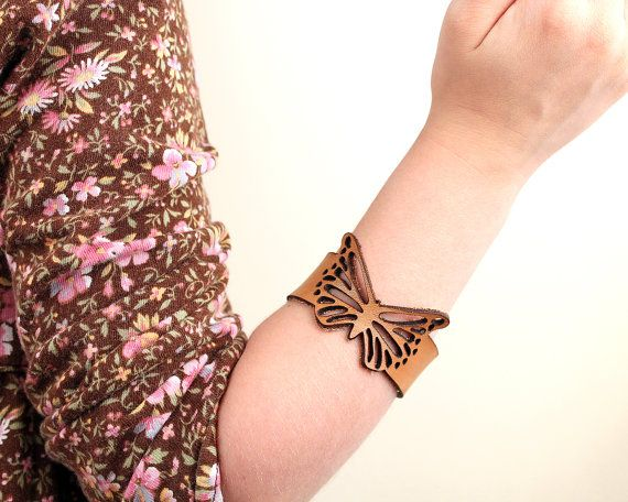 Kids Leather Butterfly Bracelet Cuff Laser Cut | Vegetable Tanned leather | Little Girl Birthday Present Gift | Childrens Jewelry | Handmade