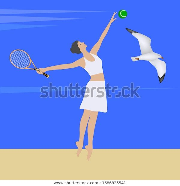 Woman Racket Plays Tennis Sea Sandy Stock Vector Royalty Free 1686825541 In 2020 Play Tennis Sandy Tennis