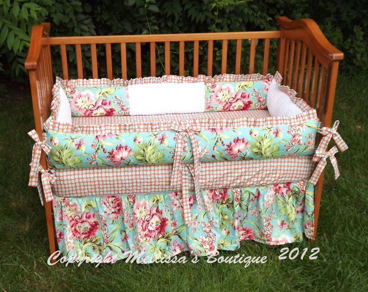 Custom Coral and Aqua/Turquoise Baby Nursery 3-Piece Ruffled Crib Bedding Set made with Designer Fabrics. $314.99, via Etsy.