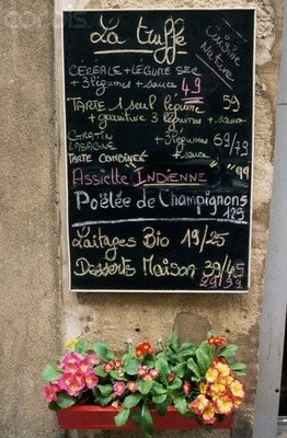 French Cafe Menu and flowers