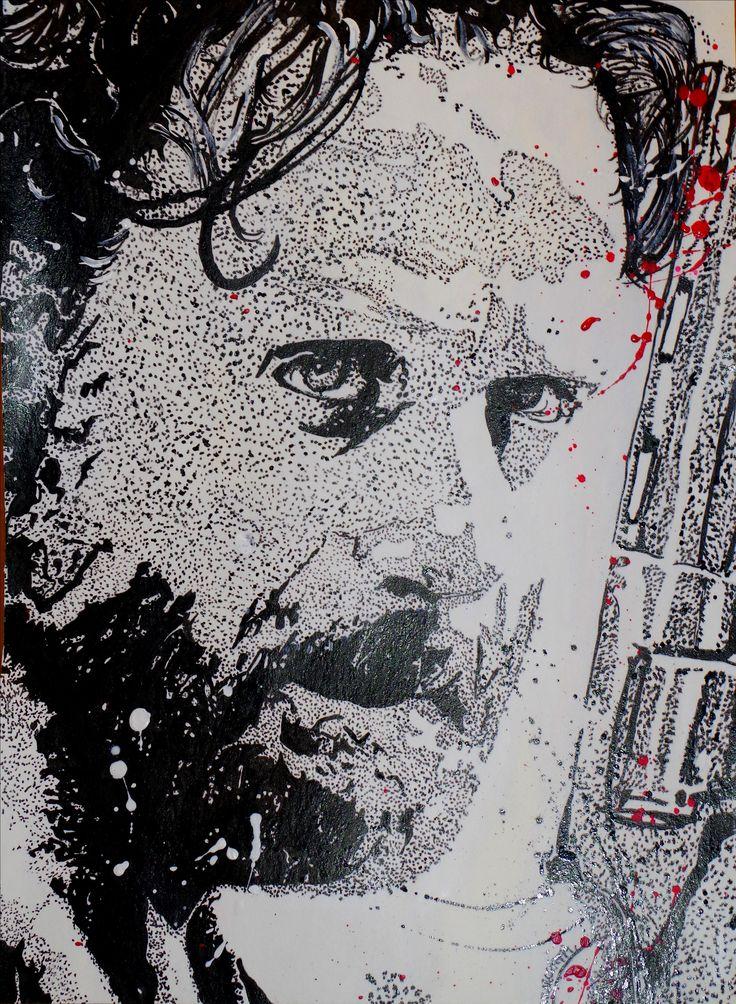 Rick Grimes de la série The Walking Dead. Portrait à l'encre de chine. Outils : Pinceaux et cure-dent. Papier en coton bambou format 36x48 cm.  Vidéo de l'évolution ici : https://www.youtube.com/watch?v=ru0tFHk1ZdA