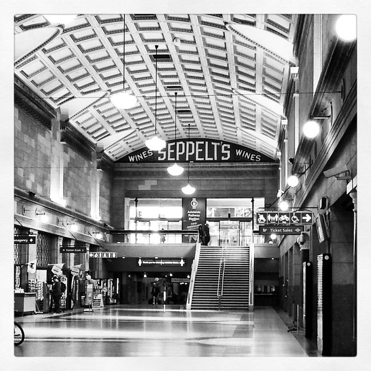 Gorgeous black & white of the train station at Adelaide by local artist Jean Mendrin.