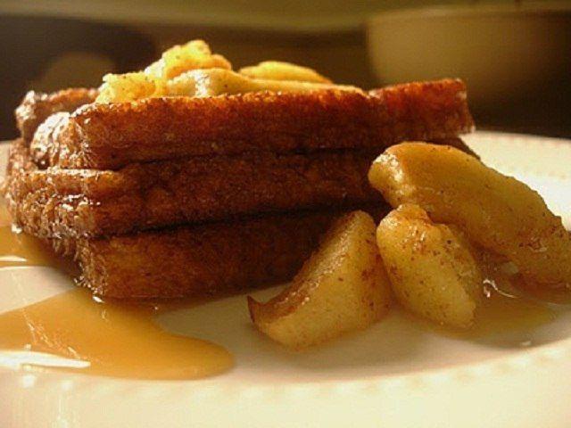 tostada francesa light con manzanas