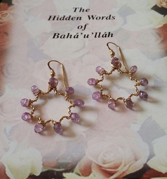 Amethyst Faceted Gemstone 14k Goldfilled Nine-Pointed Star Wirewrapped Bah�'� Star Earrings