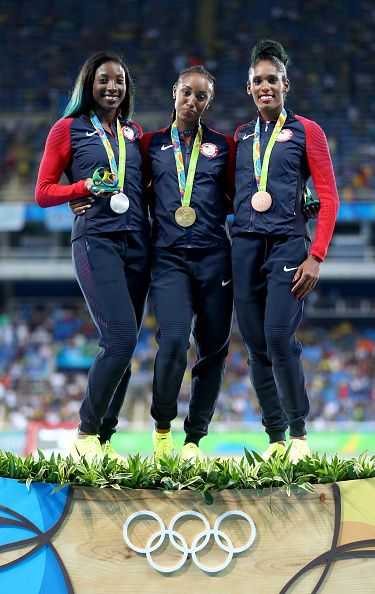 Silver medalist Nia Ali of the United States gold medalist Brianna Rollins of…