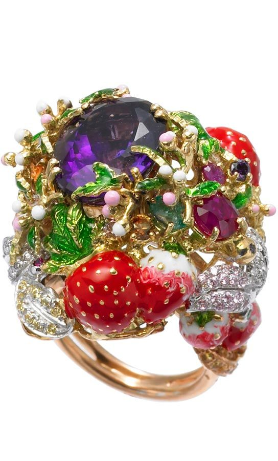 Santagostino Strawberry Frost Ring n.A 450. 18 KT Gold (Pink and White)  Diamonds, Rubies, Sapphires, Amethyst and Enamel
