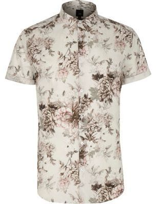 River Island Mens Big and Tall cream floral short sleeve shirt