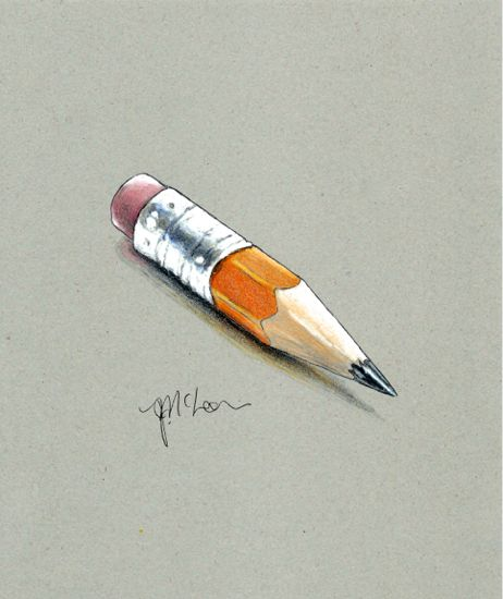 """Borrow a pencil? Drawing done on Gobal Art Materials Kona Grey paper 8""""x10"""" using Faber Castell artist watercolor pencils"""