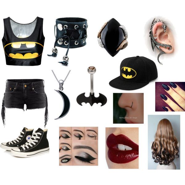 Batman by arigatou-tomodachi on Polyvore featuring Converse, Luca Carati, Carolina Glamour Collection, Funk Plus and Charlotte Tilbury