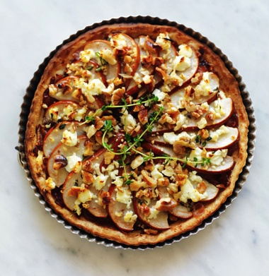 Tarts without tops: caramelised onion, pear and goat's cheese. From April marie claire. Photographed by Louise Lister.  Recipe by Kerrie Worner. Styled by Jane Roarty. Produced by Emma Wheater.