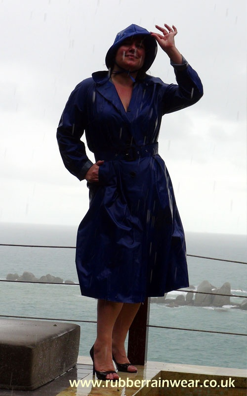 Wearing My Blue Rubber Lined Mac With Matching Bonnet