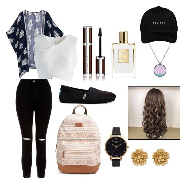 """""""Back to scool"""" by juliette-soucy on Polyvore featuring mode, Chicwish, New Look, Rip Curl, TOMS, Givenchy, Olivia Burton et Miriam Haskell"""
