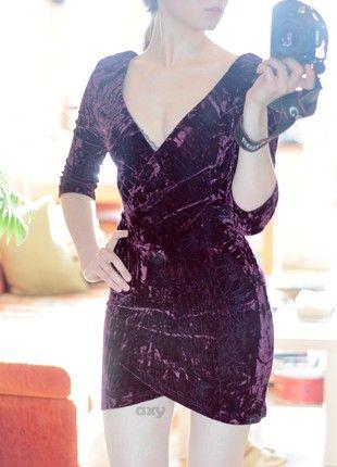 Kup mój przedmiot na #vintedpl http://www.vinted.pl/damska-odziez/imprezowe-slash-koktajlowe/20736772-sliwkowa-welurowa-sukienka-mini-asymetryczna-kopertowa-bodycon-dekolt-crushed-velvet