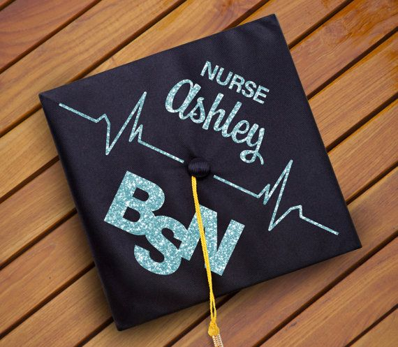 Custom Nursing Graduation Cap Decal Decoration - Nurse [Name] BSN, RN - Nursing Major - Heart Rate - Vinyl - DIY