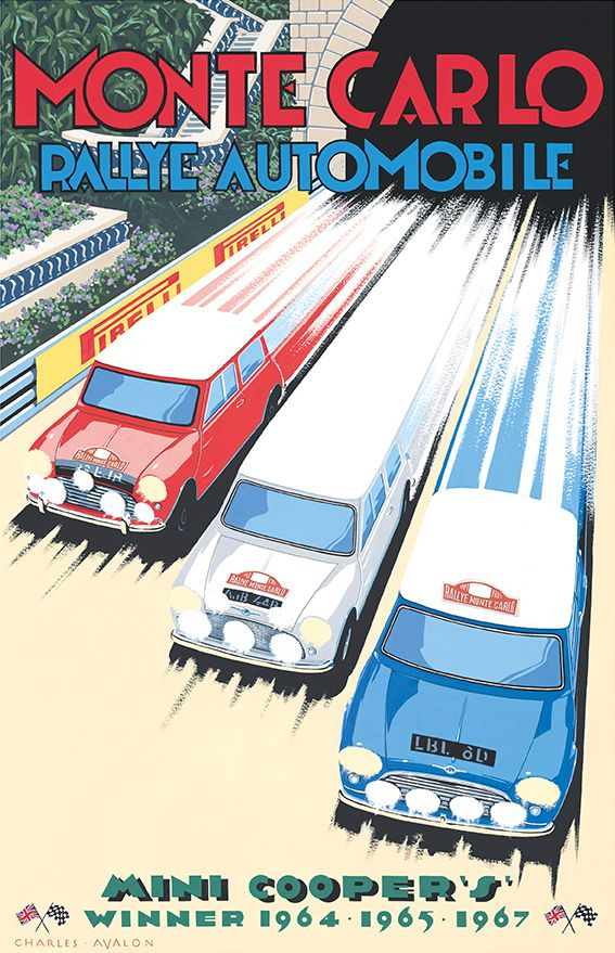 PEL413: 'Mini Cooper S – Monte Carlo Rallye' by Charles Avalon - Vintage car posters - Art Deco - Pullman Editions - Mini Cooper