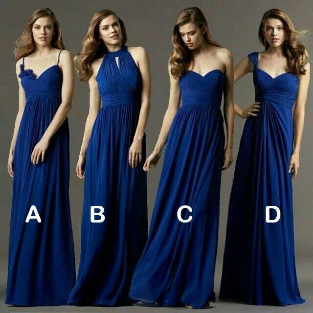 2015 Sexy Long Chiffon Bridesmaid Dresses Sapphire Blue High Waist Long Bridesmaid Dress 4 Styles Cheap Party Dress Prom Gowns, $62.83 | DHgate.com