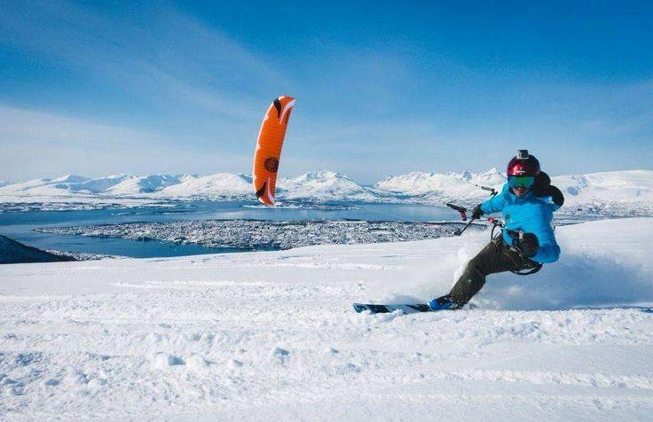 Snowkite with my new #Flysurfer #speed5, over Tromso in #Norway