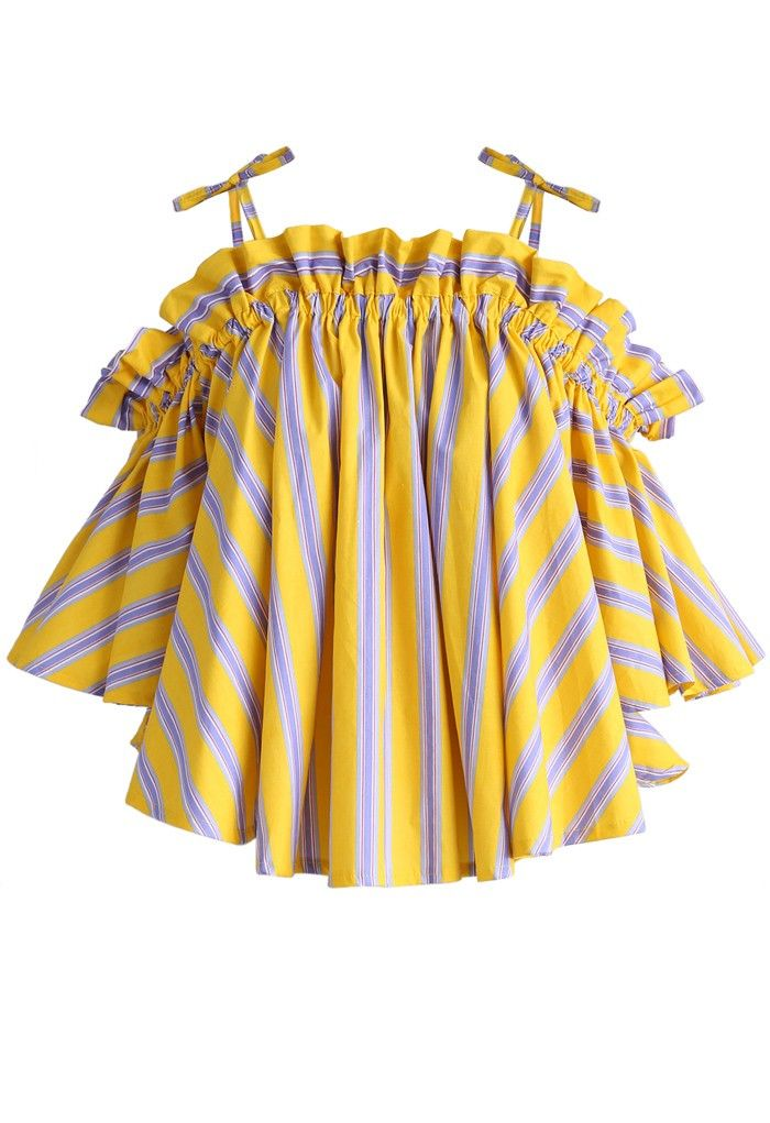 Jaunty Stripe Cold-shoulder Top in Yellow - New Arrivals - Retro, Indie and Unique Fashion