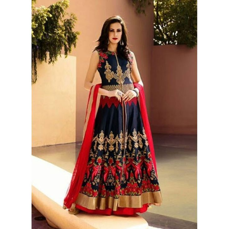 Royal Navy Blue Banarasi Party Wear Designer Suit