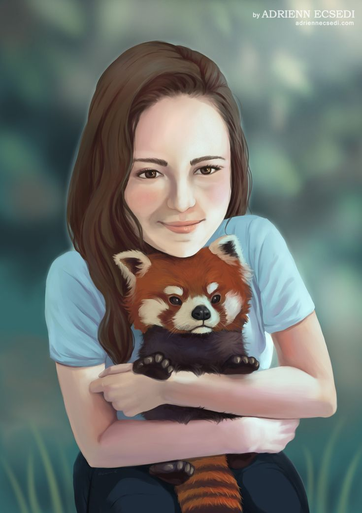 Red Panda Hug - digital painting by Adrienn Ecsedi, 2016