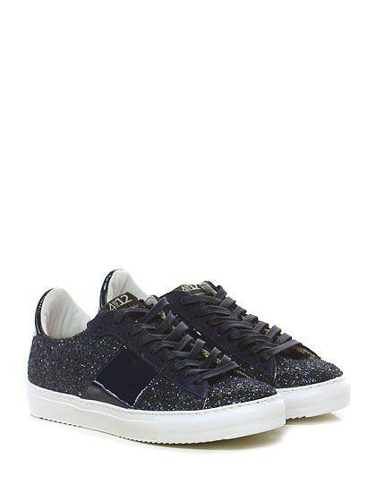 Quattrobarradodici - Sneakers - Donna - Sneaker in glitter, vernice e  crosta con…