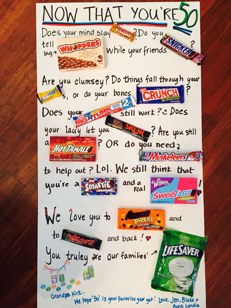 50th birthday candy card for my wonderful father in law. It's a little sentimental & a little silly but overall is cute. We used Canadian chocolate bars  & candy to come up with the story. Here's hoping its a hit! :) JAK