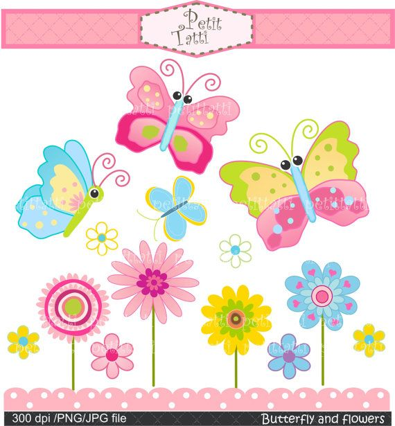 Digital clip art for all use Butterfly and flowers