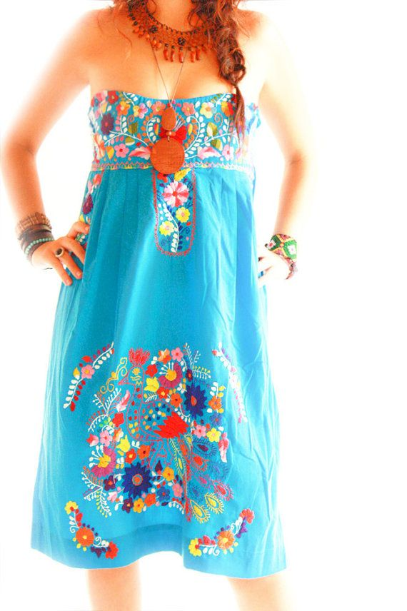 Mexican Dress Hand Embroidered Heart Strapless