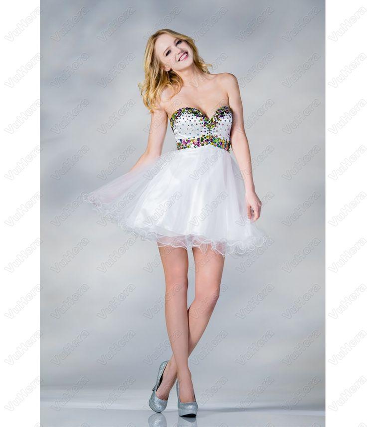 White Chiffon Beaded Short Prom Dress