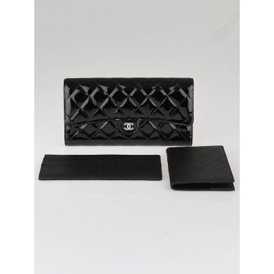 Chanel Black Quilted Patent Leather Wallet Clutch Bag