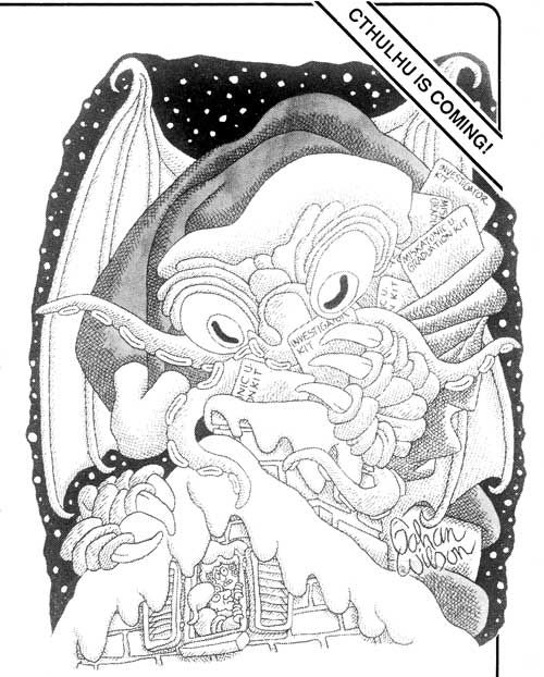 Have a Cthulhu Christmas! Gahan Wilson illustrated an ad for Chaosium's Call of Cthulhu game in Dragon magazine No. 129, January 1988.