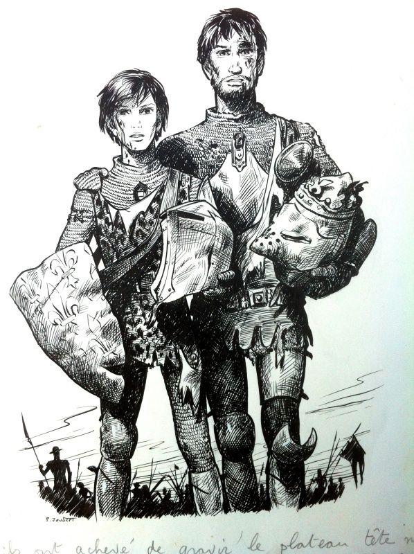 Illustration pour le livre La plume verte et autres contes pour Roland de Serge Dalens paru dans la collection Signe de piste junior en 1957.