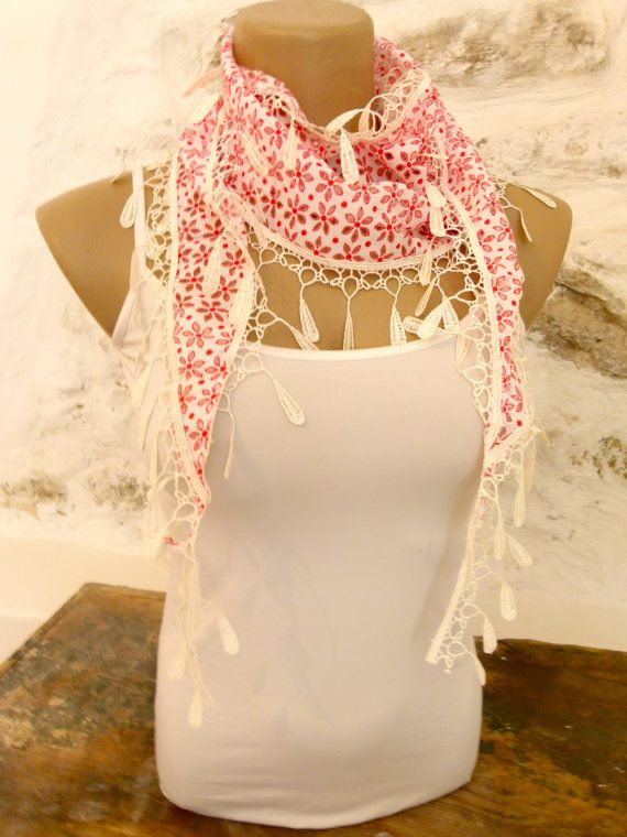 Summer Scarf with red and white flowers Cotton by ShawlsandtheCity, $15.00