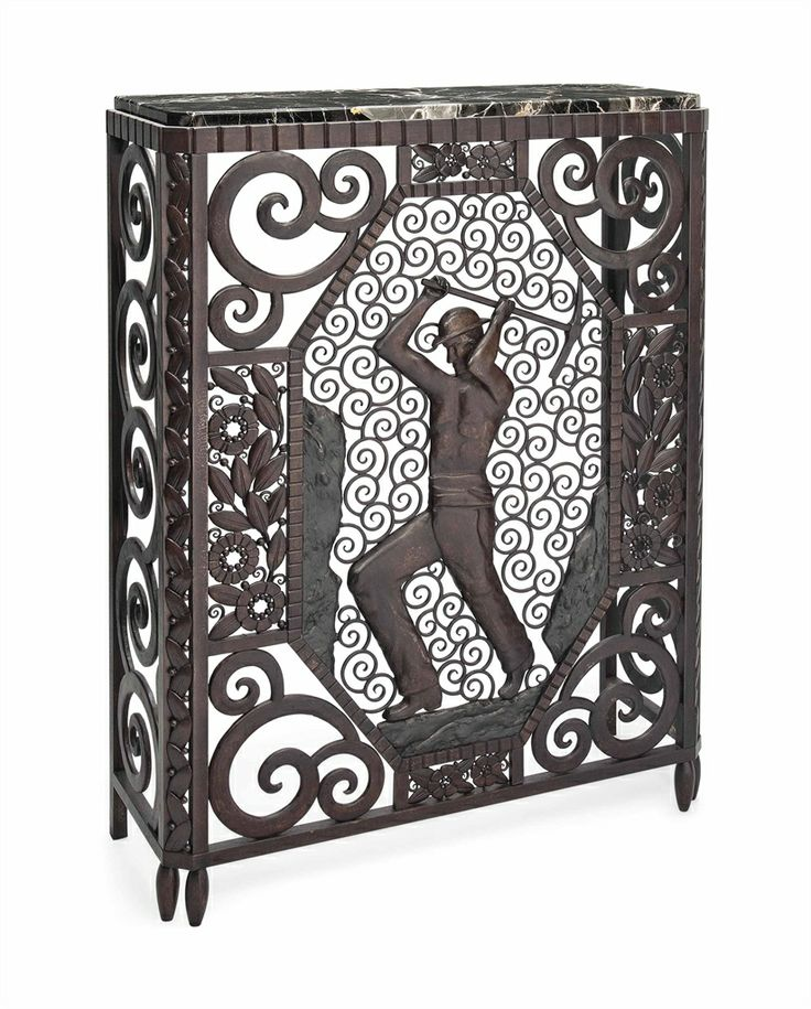 A LOUIS KATONA CAST AND WROUGHT-IRON CONSOLE TABLE -  CIRCA 1930