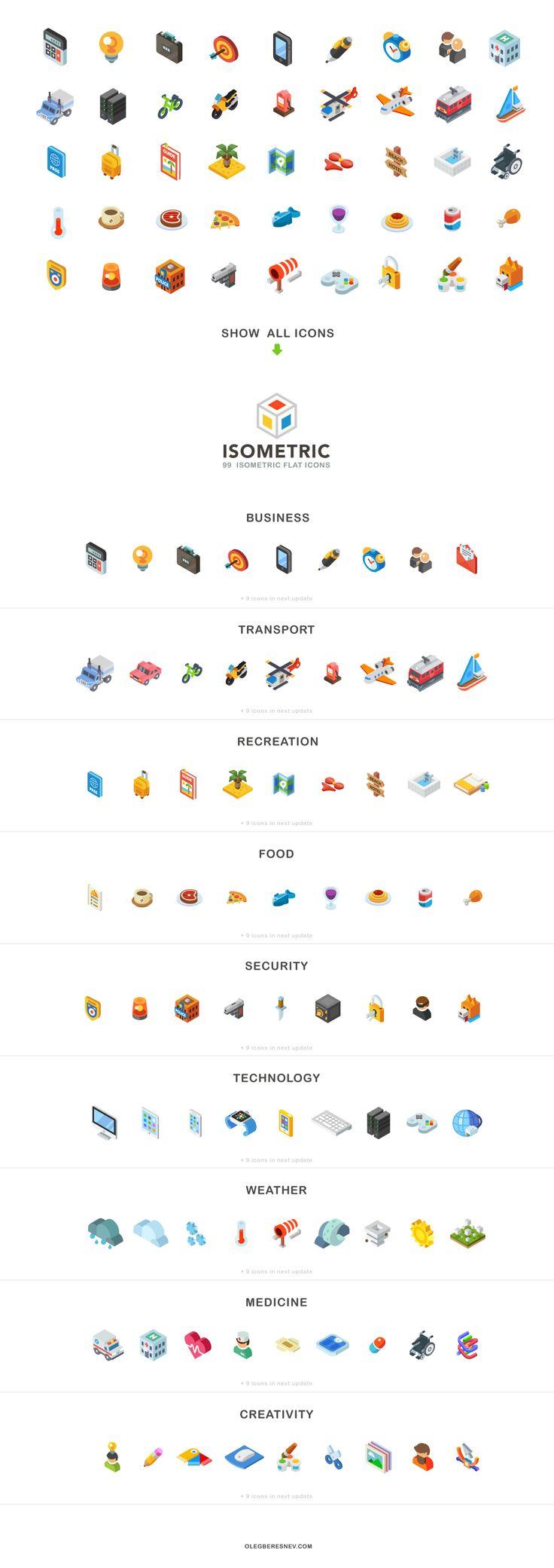 Isometric, 99 icon pack by Oleg Beresnev on Creative Market
