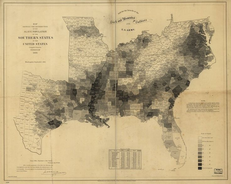 "The Map That Lincoln Used to See the Reach of Slavery.  ""Map showing the distribution of the slave population of the Suthern states of the United States. Compiled from the census of 1860. Drawn by E. Hergesheimer. Engr. by Th. Leonhardt."" Library of Congress, American Memory Map Collections"