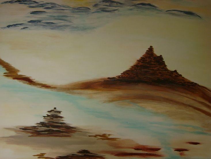 Tijdens de voorbereiding op mijn reis naar Nepal, kwam er op een gegeven ogenblik de behoefte om te schilderen. Hetgeen ik erover gelezen had, opgezocht via google en uit reisverslagen gehoord/vernomen had kreeg kleur en vorm . Zo ontstond er voor mij een fictief plaatje over de bergen, tempels en gletsjers die ik nog ga bezoeken.