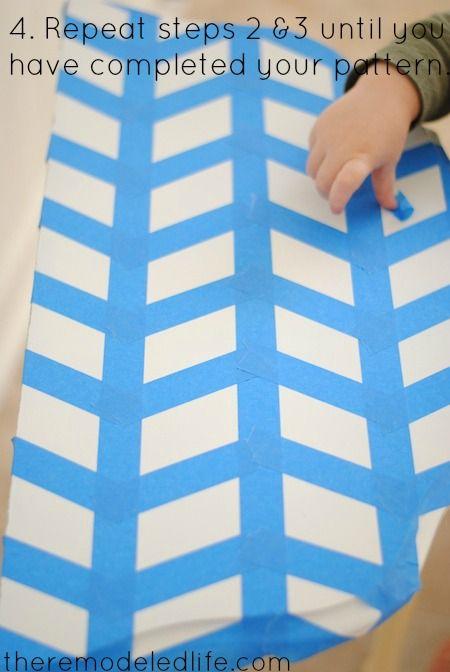 Easy Herringbone Painted Table {The Remodeled Life}