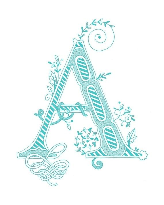 Hand drawn monogrammed print 8x10 the Letter A in by jenskelley, $15.00