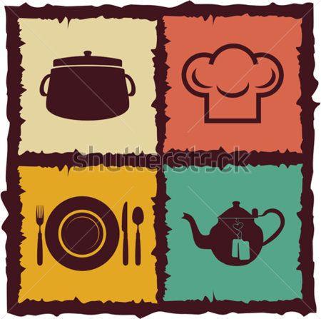 Conjunto DE Elementos DE Cozinha Vintage Rótulos clip arts - ClipartLogo.com