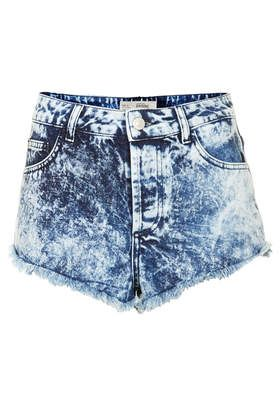 MOTO Brooke Acid Denim Hotpants - Denim Shorts - Shorts - Clothing