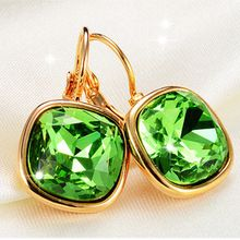 Fashion Austrian crystal Square earrings for women Rhinestone Gold Silver Stud oorbellen Jewelry female brincos pendientes //FREE Shipping Worldwide //