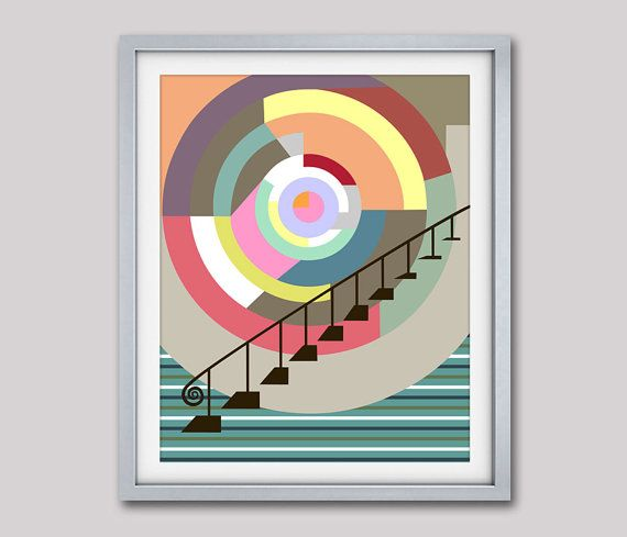 Stairway to Heaven Cubist Painting Geometric Wall  Art