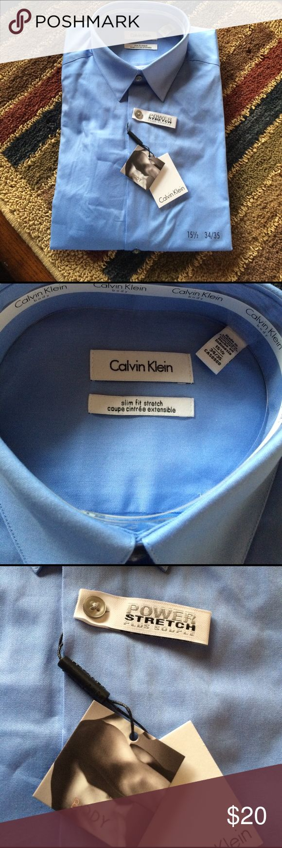 Calvin Klein Men's Shirt Sky blue, button down, power stretch plus souple, body defining fit with forward shifted side seams for slim fit. With the stretch for ease of movement. Long sleeve, dress shirt with tie ready collar. Never worn, regular price was 65.00. Still folded from manufacturers. Price is ready for quick sell. Calvin Klein Shirts Dress Shirts