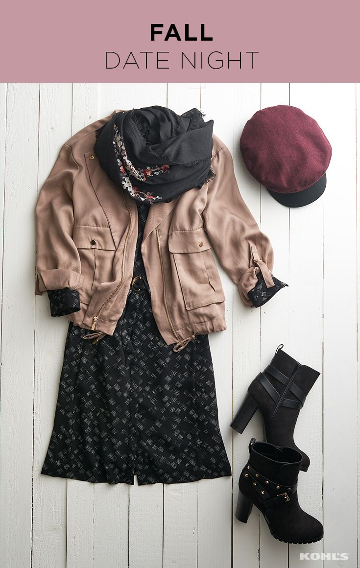 Whether you're apple picking or staying warm at a cozy dinner, we've got your fall date-night outfit here. A printed dress and utility jacket combination looks fresh and cool this season. Top it off with an embroidered scarf, newsboy cap and studded boots, and you've got a to-die-for date-night look that you'll wear again and again. Shop the fall date night outfit at Kohl's.