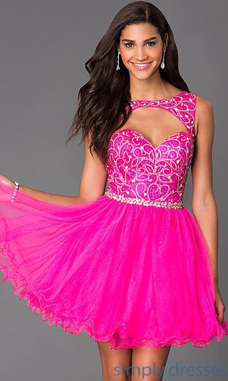 Shop beaded short homecoming dresses and party dresses at Simply Dresses. Short prom dresses and semi-formal sweet-sixteen dresses.