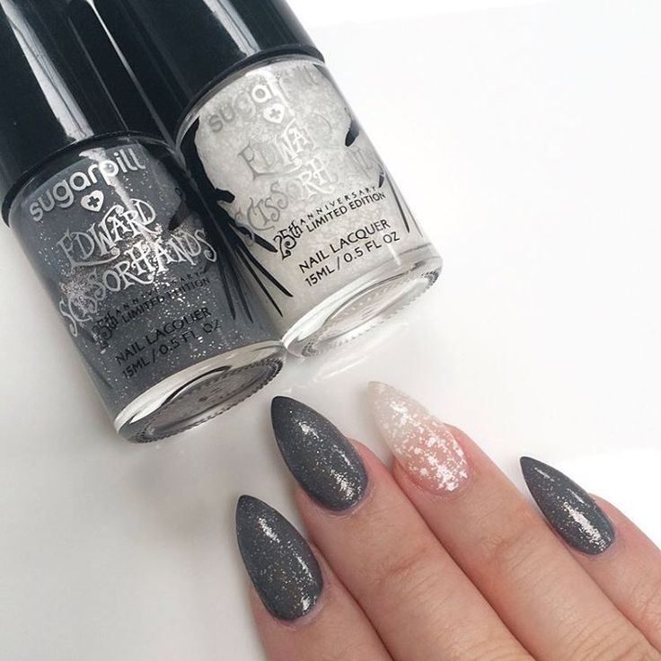 """""""Office hand model @looooo3 wears #sugarpill The Inventor and Ice Angel nail lacquers! #Edwardscissorhands collection launches MONDAY!! $10 a pop at…"""""""