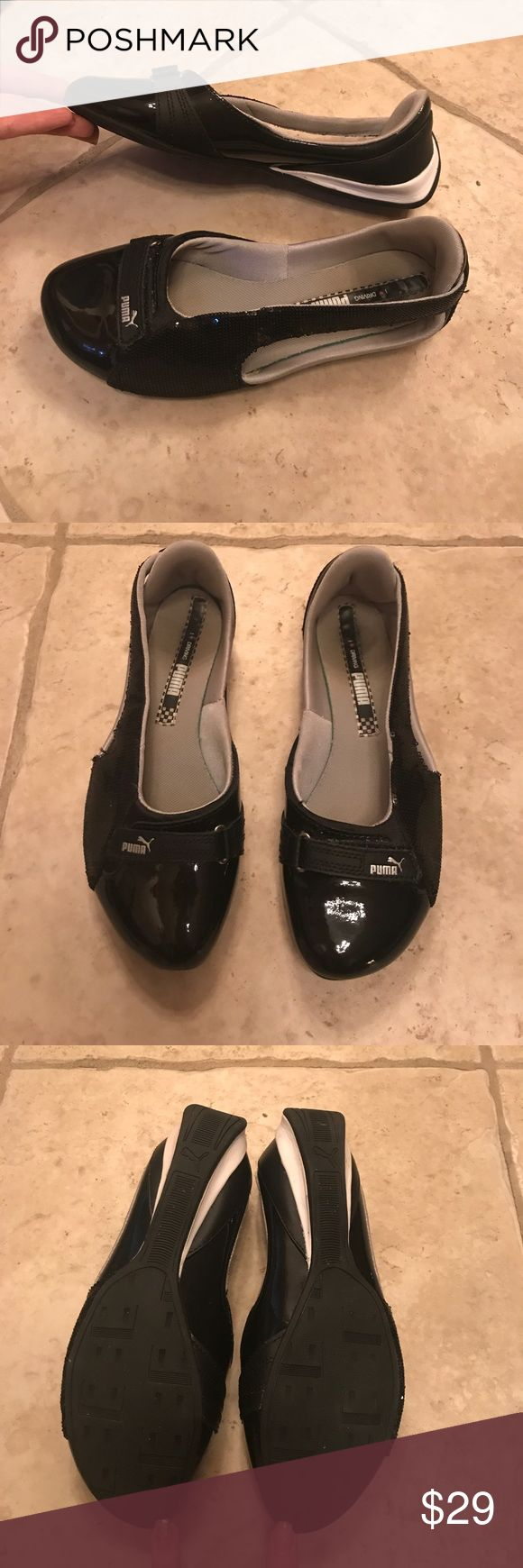 Puma Ballerina flats. Black and White. Size 8. Run slightly small, feel like size 7.5.  Exceptionally comply, slightly used. Puma Shoes Athletic Shoes