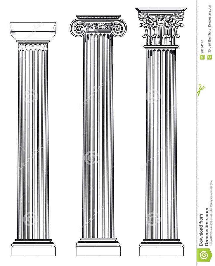 Differenza fra i tre ordini principali dell'arte greca. A partire da sinisstra abbiamo lo stilo dorico (più antico), stile ionico (leggermente successivo) e lo stile corinzio (V secolo a. C. circa). Essi si differenziano nella base (non presente nello stile dorico), nel fusto e nel capitello.